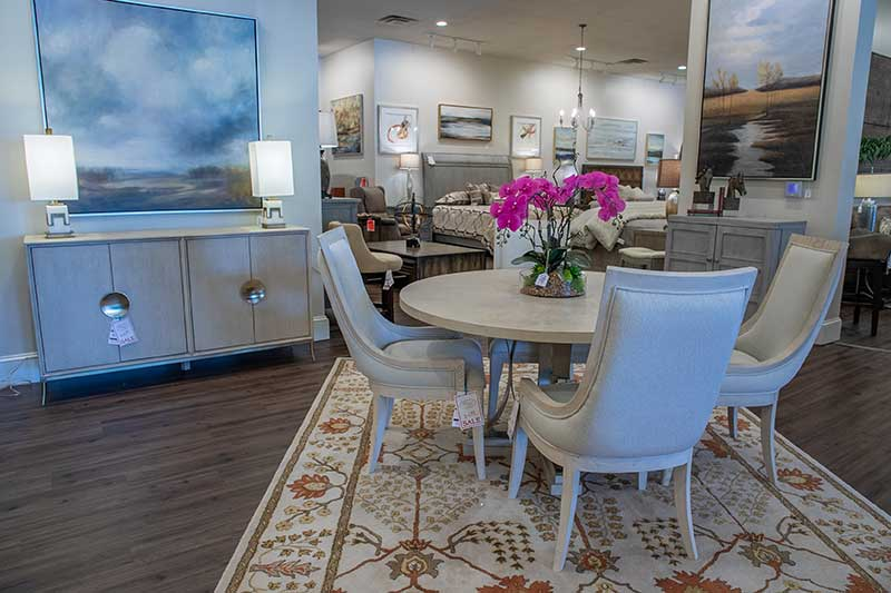 American Drew dining table and buffet in furniture store in Kennesaw, GA